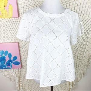 Madewell White Crochet Short Sleeve Blouse Small